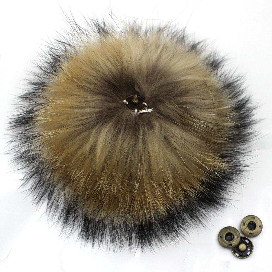 Помпоны из натурального меха енота для сумки, 5 шт./лот, 12, 13, 14, 15 см
