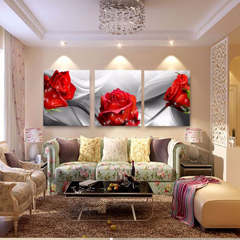 No FramePrint Canvas Wall Art Roses And Chrysanthemums Decoration Art Oil Painting Modular Pictures On The Wall 3pcs FY83