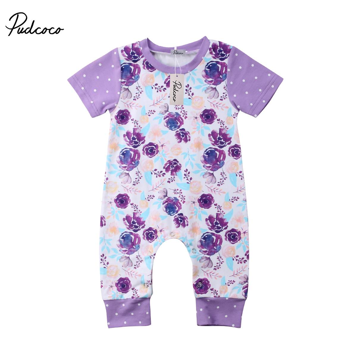 Pudcoco Newborn Infant Baby Boy Girl Cotton Short Sleeve O-Neck Floral Romper Outfit 0-24 Months Helen115