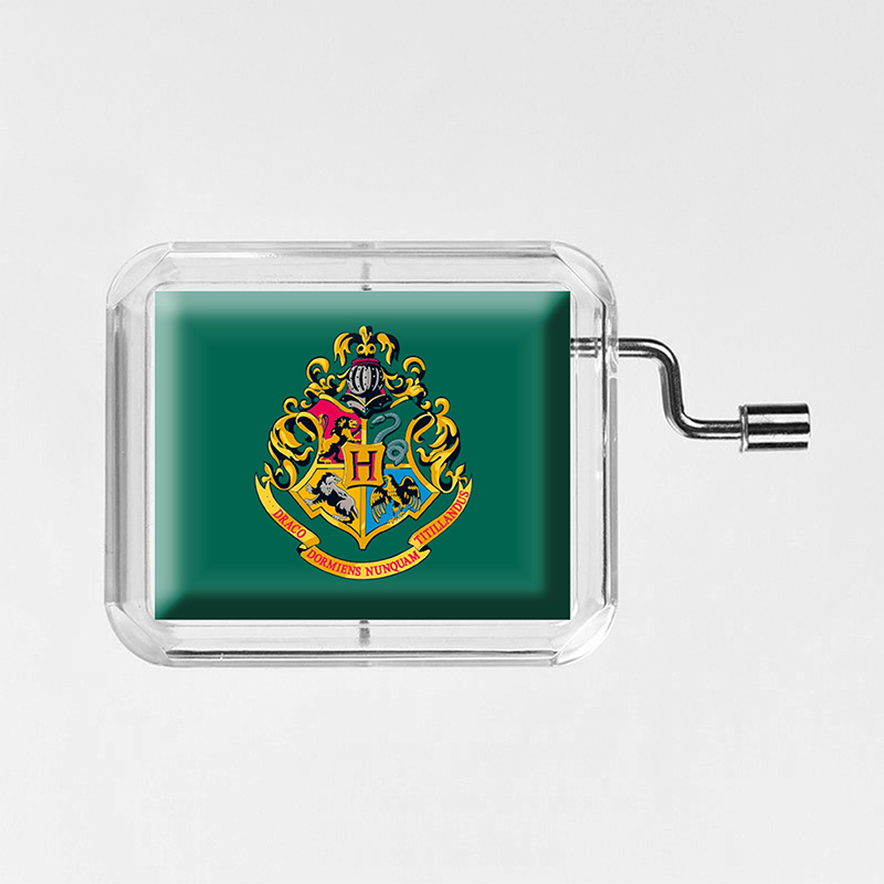 2019 New Cartoon HP  Hand Cranked glass photo transparent square music box happy birthday Party 18 Notes  Gift