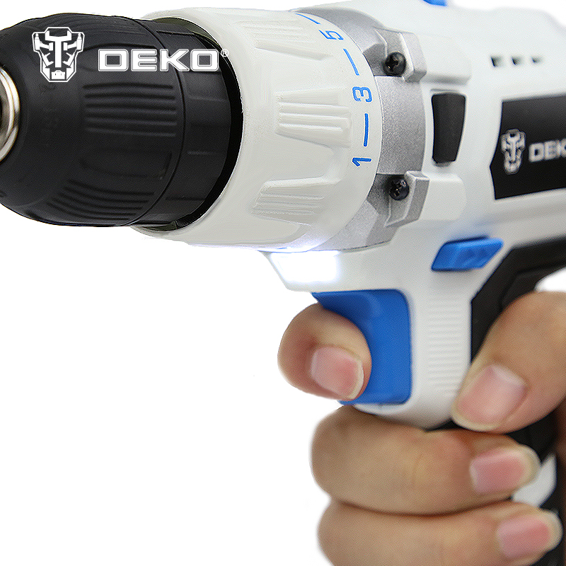 DEKO 18V DC New Design Mobile Power Supply Lithium Battery Hammer Cordless Drill Power Tools Impact  Electric Drill