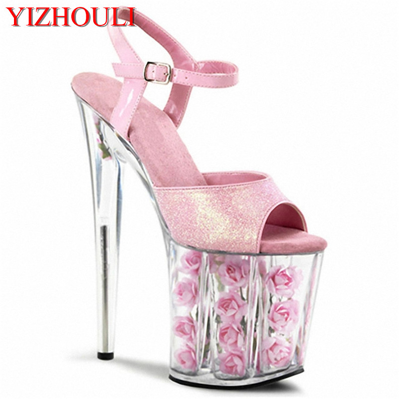 20 cm high heel transparent crystal sandals 8 inch rose wedding shoes party  exotic dancer performance shoes 9ac391904036
