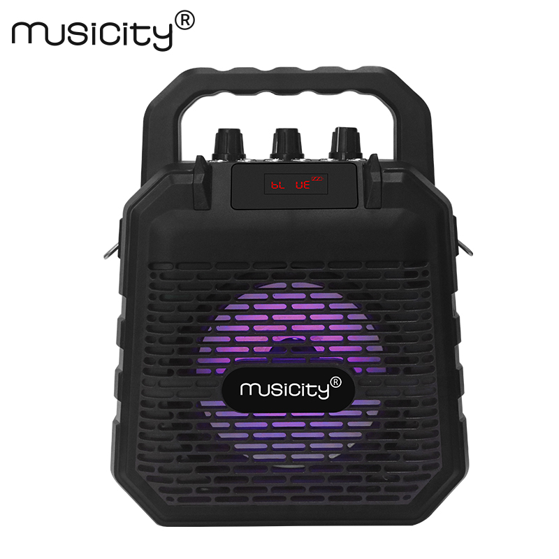 Musicity Outdoor Mini Portable Karaoke Bluetooth Party Speaker with Microphone Bass Music Subwoofer BT FM Radio USB SD 7W exrizu ms 136bt portable wireless bluetooth speakers 15w outdoor led light speaker subwoofer super bass music boombox tf radio