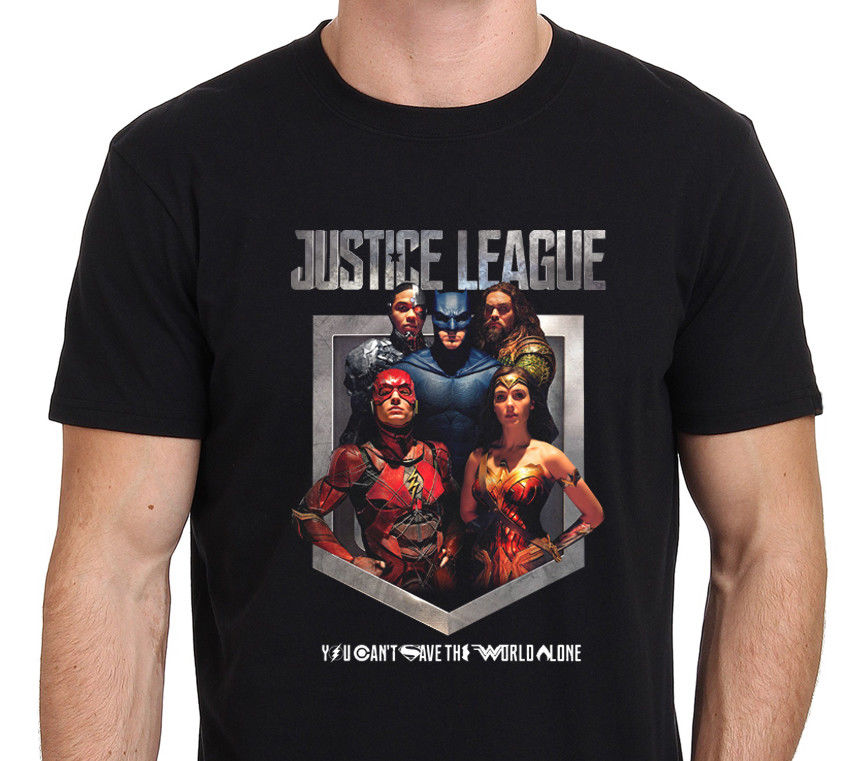 Justice League You Cant Save the World Alone Mens T-Shirt Black New Fashion MenS T-Shirt