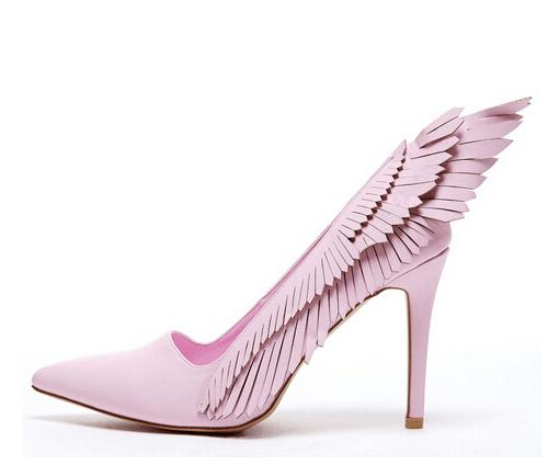 ФОТО 2017 new fashion pointed high heels ladies shoes fretwork pink women pumps angel wings melissa zapato designer shoes wedding