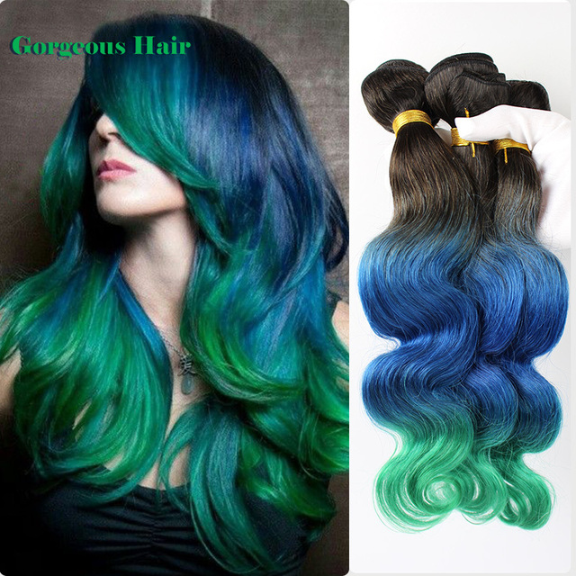 New Arrival Ombre Human Hair 1B Blue Green Body Wave Weave Three Tone Human Hair 3 Pcs/lot Free Shipping