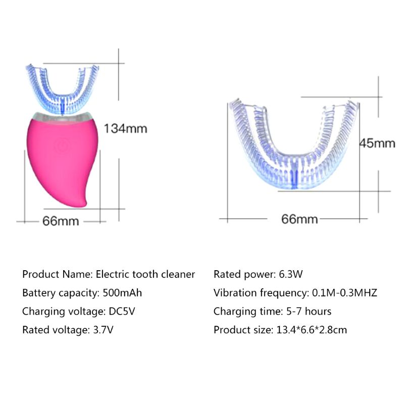 New Love Style Auto Disinfection U Shape Timer Ultra Sonic Silicon Waterproof Electric Toothbrush Wireless Rechargeable 3 Modes