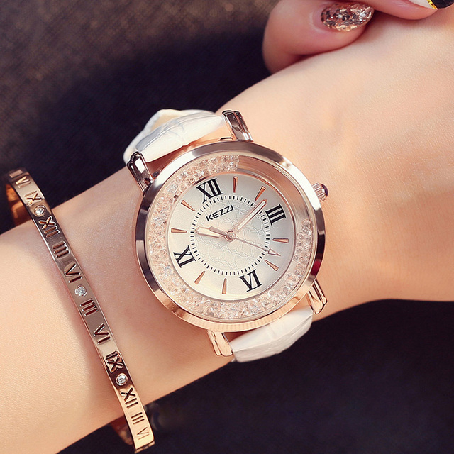 KEZZI Brand Women Leather Strap Watches Rose Gold Plated Crystal Dress Watch Rom