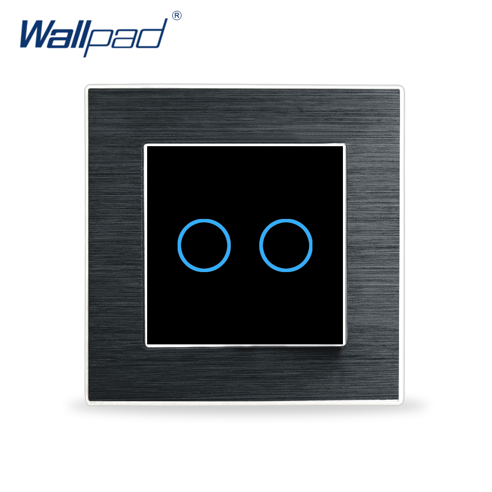 Metal 2 Gang 1 Way Touch Switch Wallpad Luxury Wall Switch Satin Metal Panel Touch Glass Sensor Wall Smart Touch Switch цена и фото