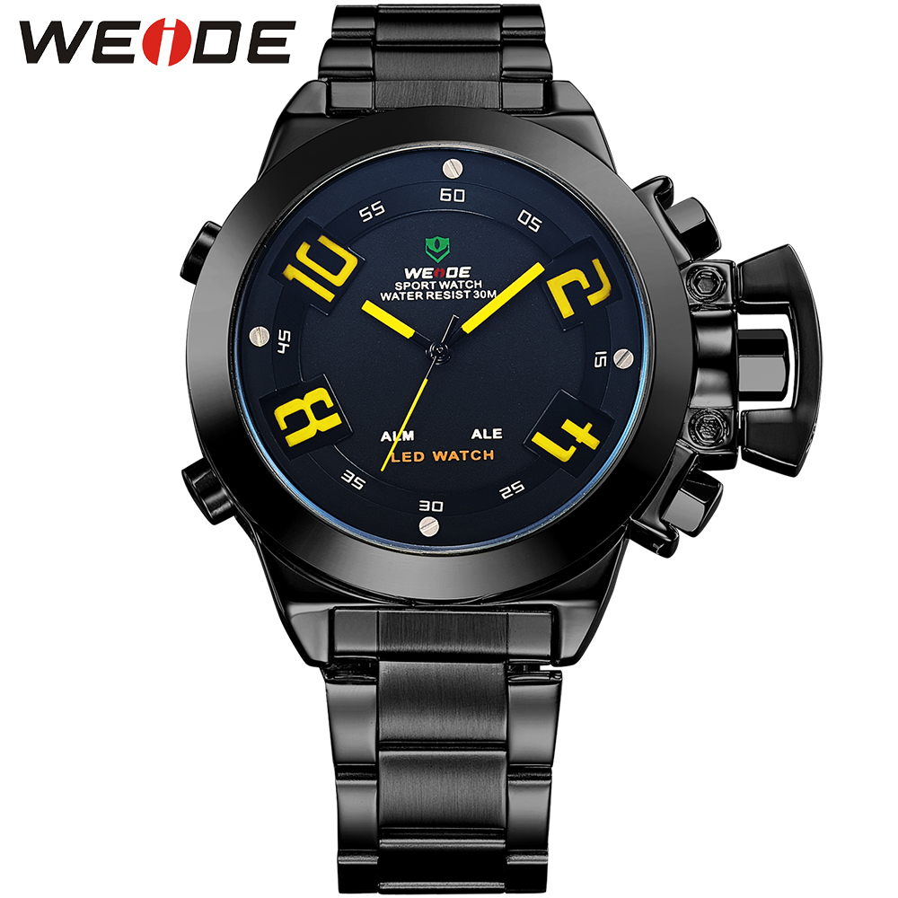 WEIDE Original Brand Men Black Stainless Steel Watches Waterproof LED Fashion Analog Digital Display Quartz Movement Clock weide irregular analog led digital watch men quartz dual movement stainless steel bracelet mens waterproof military watches