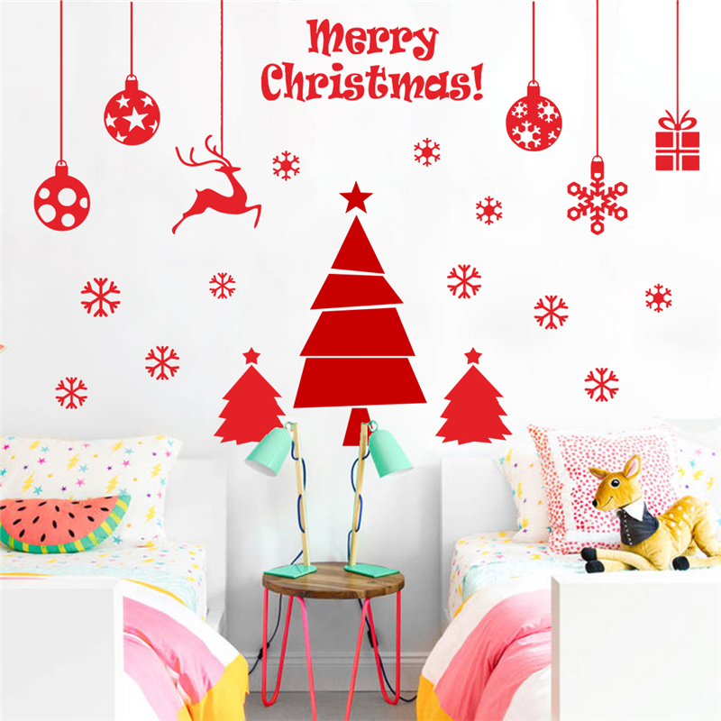 merry christmas tree gifts wall stickers for kids rooms ...