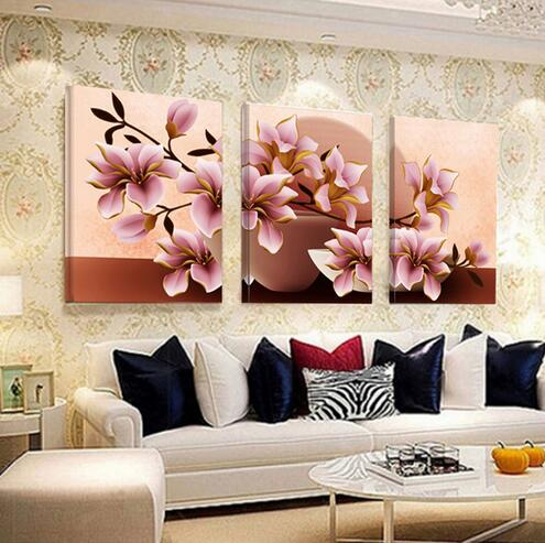 3 Piece Pink Orchid Flowers Beautiful Wall Painting Home Living Room Decoration Artwork HD Print