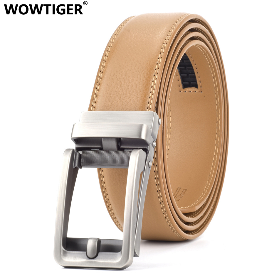 WOWTIGER Brown Cowhide genuine Leather   Belt   For Men High Quality Male Brand Ratchet Automatic Luxury   belts   Cinturones Hombre