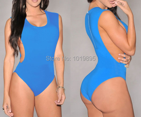 1f34c8cf12e2 2019 Girls Swim Blue Zip Back One Piece Swimsuit High Waist Swimwear Women  Bodycon Bandage Bodysuit