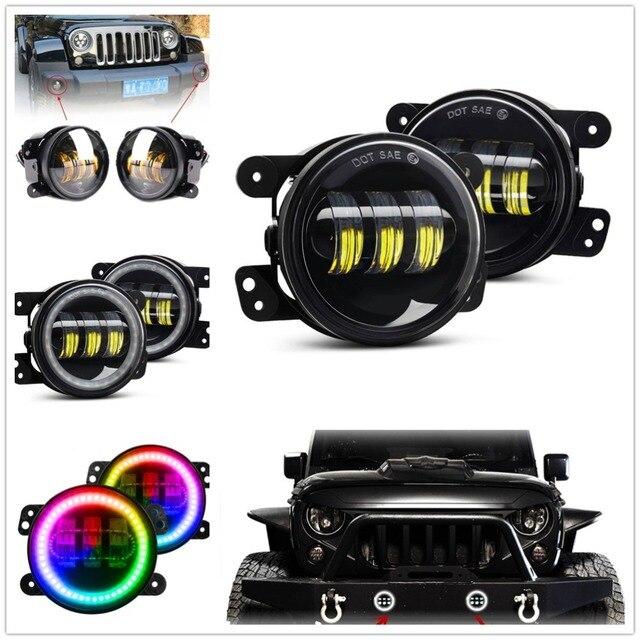 """Wrangler Jk Led Fog Light / Bluetooth App Control RGB Halo 4"""" Fog Light For Jeep Dodge Magnum Chrysler PT Cruiser Bumper Lights"""