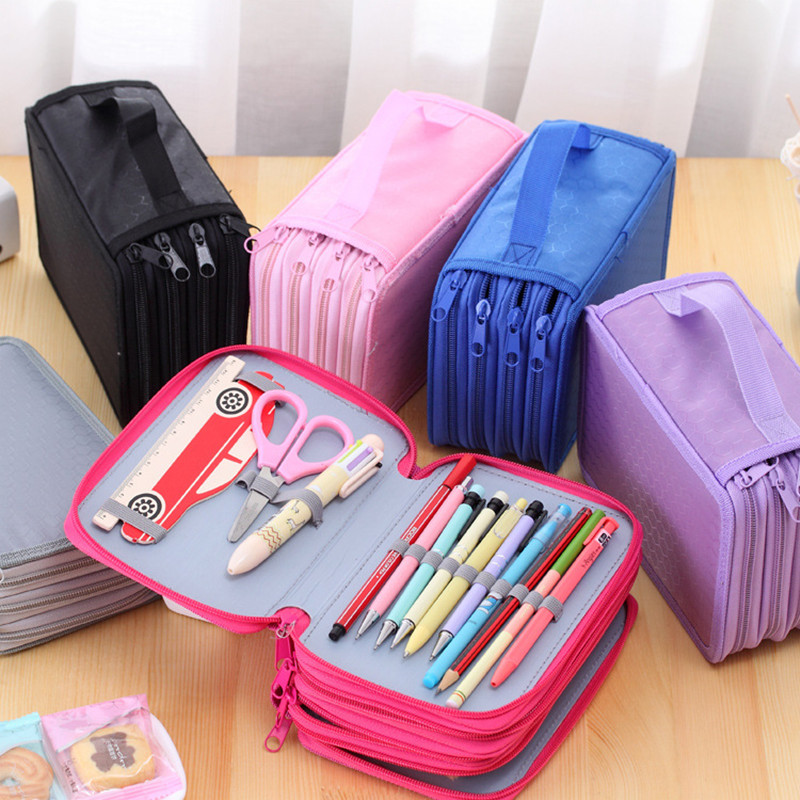 Pencil case large 72 holes Art pen color pencil box Stationery storage bag Cosmetic make up brush organizer bag school supplies large capacity pencil case canvas 120 slots 4 layers school pencil bag art marker pen holder coloring pencils organizer