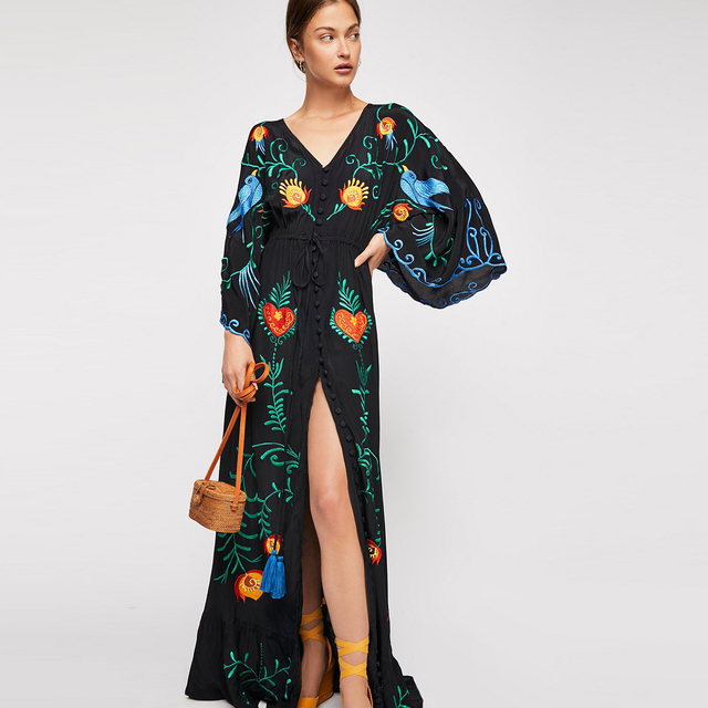 442acdce6ddf3f Jastie 2018 Spring Autumn Women Dress Loose Casual Kimono Dresses Floral  embroidered Maxi Dress Boho Ruffle Hem Beach Dresses