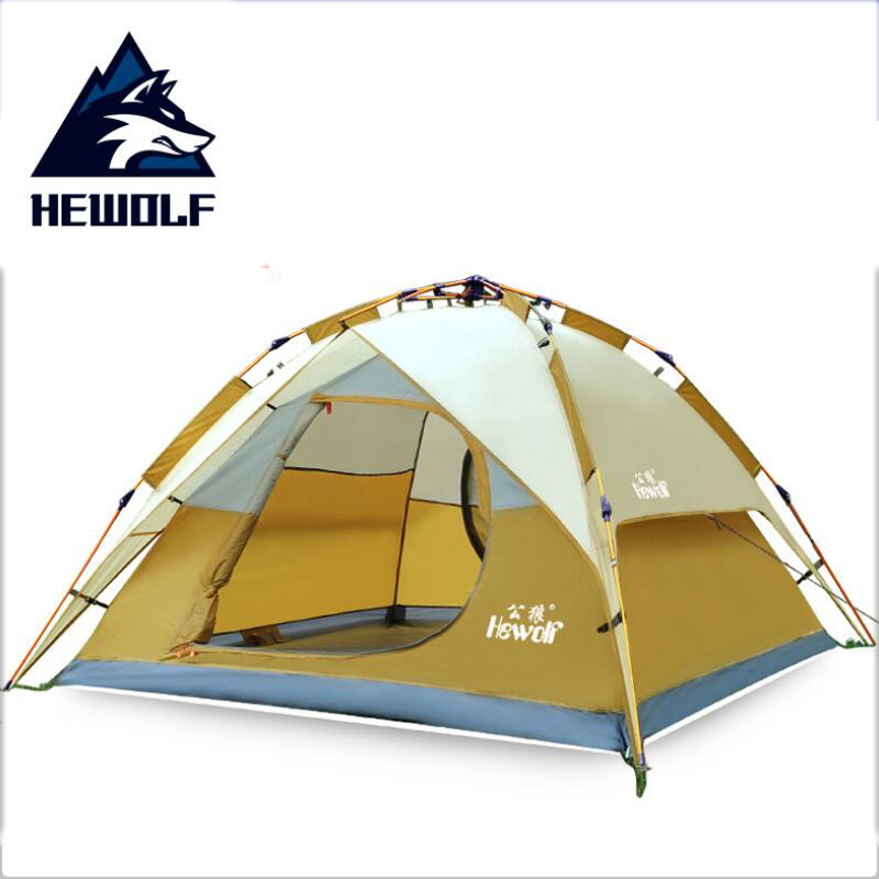 HEWOLF 200*180cm Hydraulic automatic tent 3 4 person outdoor tourist tents camping family travel Double waterproof ten