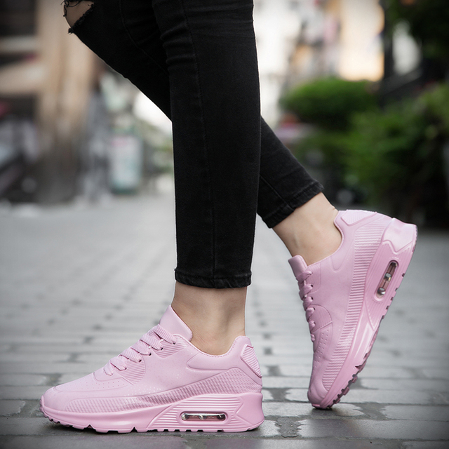 KUYUPP Women Causal Shoes Breathable Trainers Size 35-40 Pink Flat With Ladies Shoes Lace Up Outdoor Walking Shoes Ladies YD80