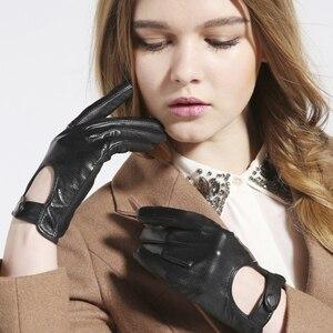 Image 2 - Gours frauen Winter Echtem Leder Handschuhe Neue Mode Marke Damen Schwarz Ungefüttert Fahren Handschuhe Ziegenleder Handschuhe GSL010