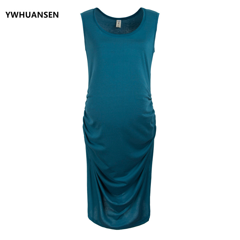 YWHUANSEN Pregnant Clothes Womens Maternity Sleeveless Dress Maternity Tank Dress Mama Scoop Neck Baby Shower Pregnancy Elegant
