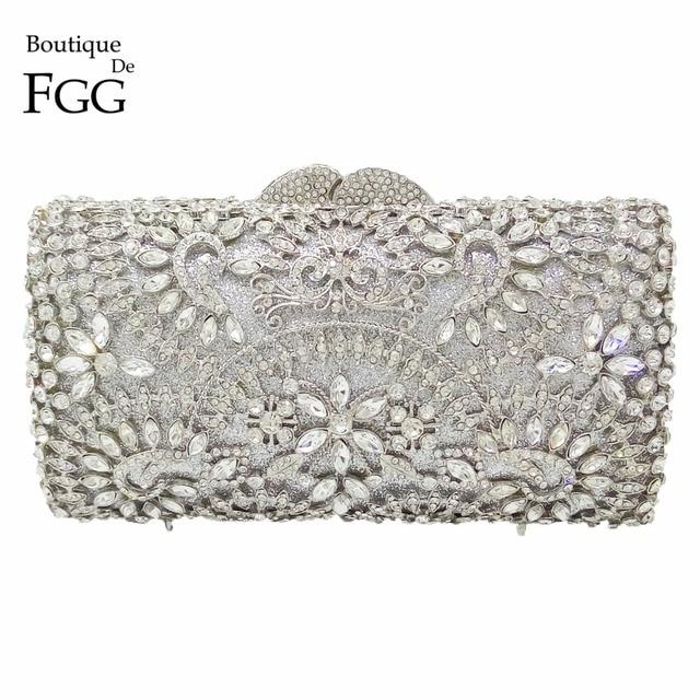 c97b88ea1dfa Sparkling Bling Women Silver Crystal Clutch Evening Bags Wedding Party  Banquet Shoulder Handbags Purse Hardcase Metal