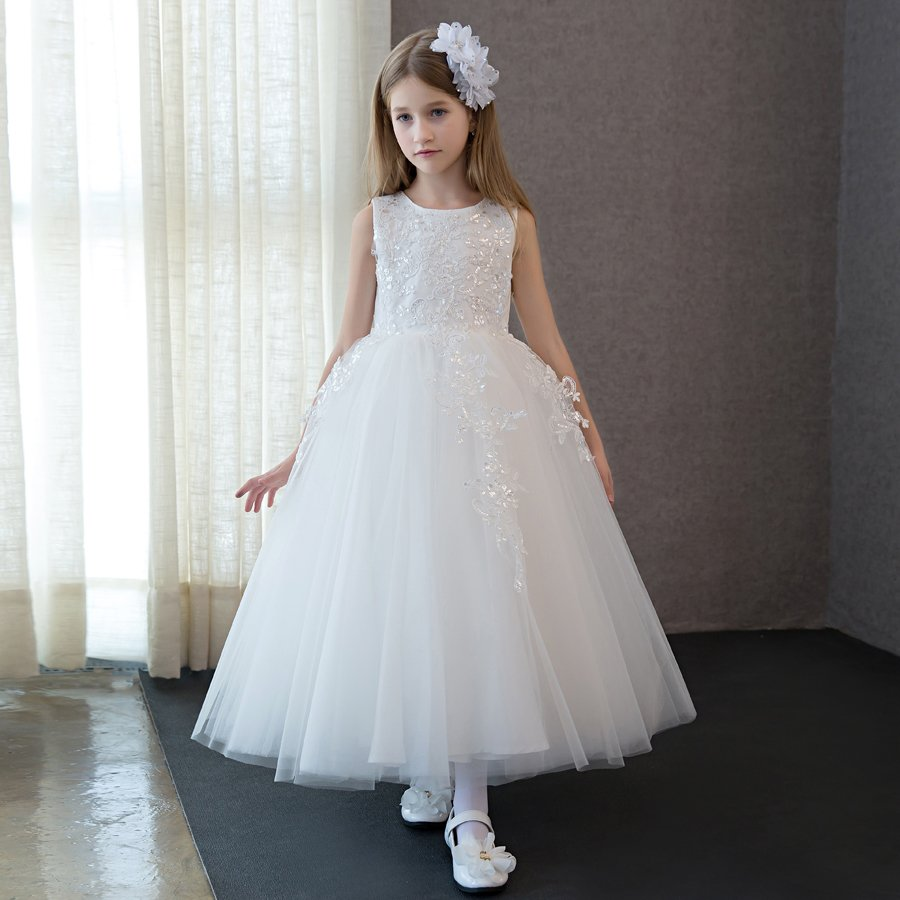 2018 winter kids formal tulle girls dress embroidered pageant bridesmaid wedding party dress ball gown prom princess sundresses цены онлайн