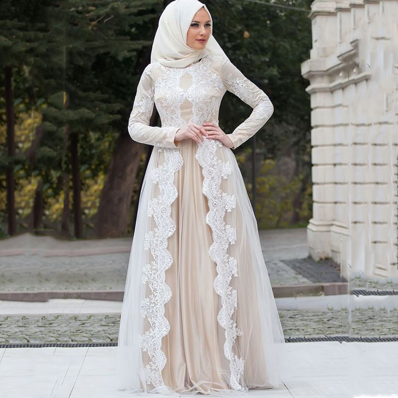 Modern lace long sleeves floor length muslim women evening for Modern long sleeve wedding dresses