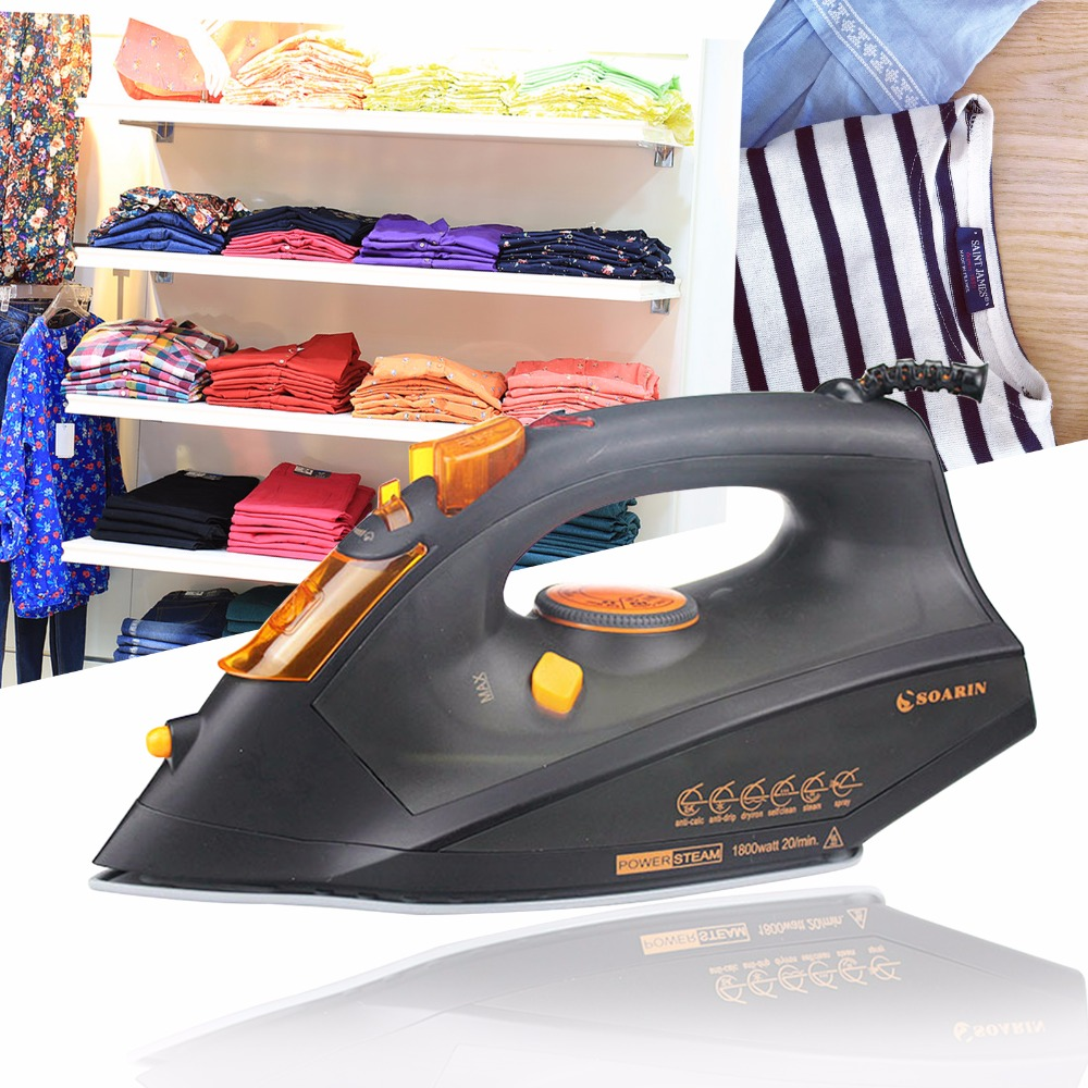 1 PCS Red/Black Steam Iron Portable Temperature Adjusted Ceramic Base Handheld Household Electric Iron цена