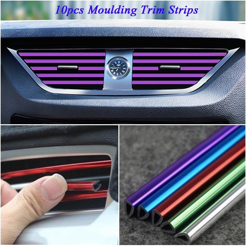 MAXTUF 10Pcs 20Cm Universal Car Air Conditioner Outlet Decoration U Shape Interior Moulding Trim Strips Car Styling Accessories