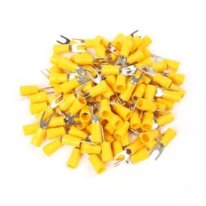 Клеммы для кабеля, 50 шт., изолированные клеммы для кабеля с желтым Furcate, 12-10AWG