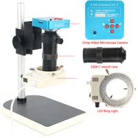 Full Set 21MP 2K HDMI USB Industry Video Microscope Camera 130X Monocular Lens 144 LED Light Lift Stand 1080P 60FPS