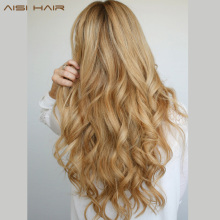 "AISI HAIR 24 ""17 Colors Long Wavy High Temperature Fiber Synthetic Clip i hårförlängningar för kvinnor"