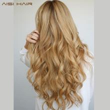 AISI HAIR 22 17 kolory długie faliste wysokiej temperatury włókien syntetyczny klip w przedłużania włosów dla kobiet tanie tanio 10 cali z 5 klipami WŁOSY AISI Włókno wysokotemperaturowe