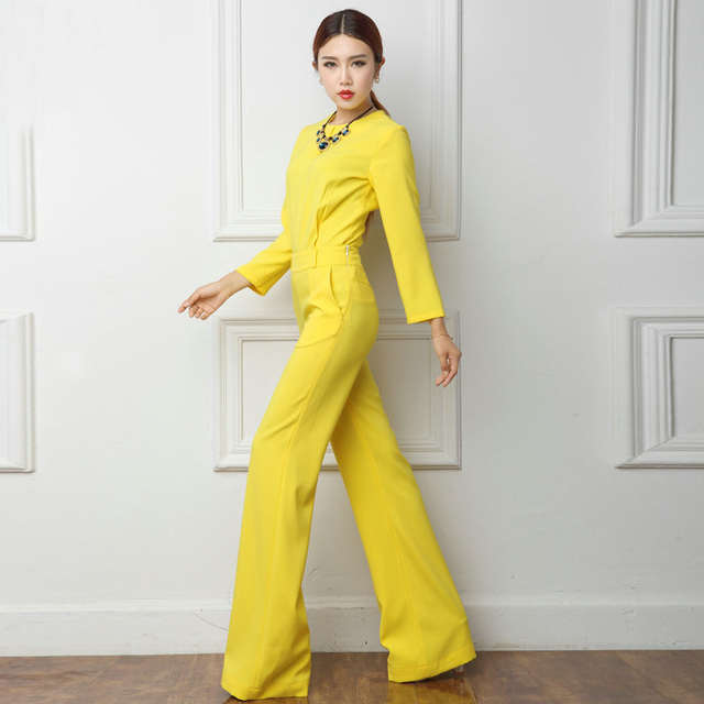 dc6947acde 2018 Spring Office Lady Women One Piece Outfits Jumpsuits Long Sleeve Loose Wide  Leg Pants Sexy