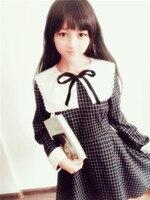 Gothique Lolita Vintage Collège 2014 automne et d'hiver uniformes femmes fille Foncé plaid à manches longues robe
