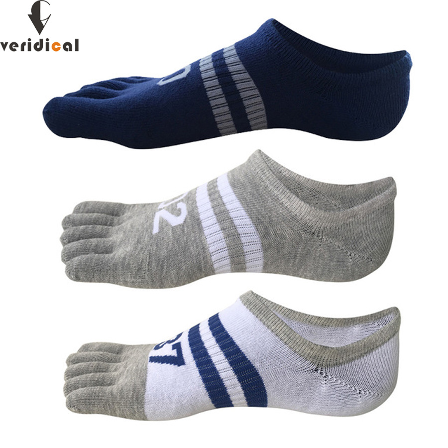 VERIDICAL 5 Pairs/lot Summer Toe Socks Men Cotton Digital Five Fingers Invisible Sock Meias Masculino Breathable Sock Slippers