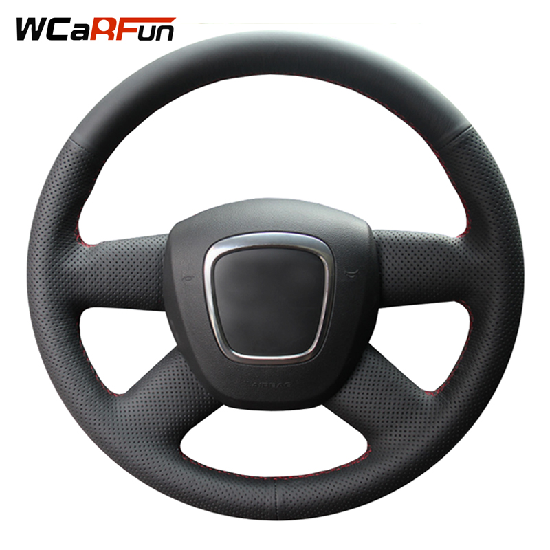 Black Artificial Leather Car Steering Wheel Cover for Audi Old A4 A6 B7 B8 C6 2004 2005 2006 2007-2011 Q5 2008-2012 Q7 2005-2011
