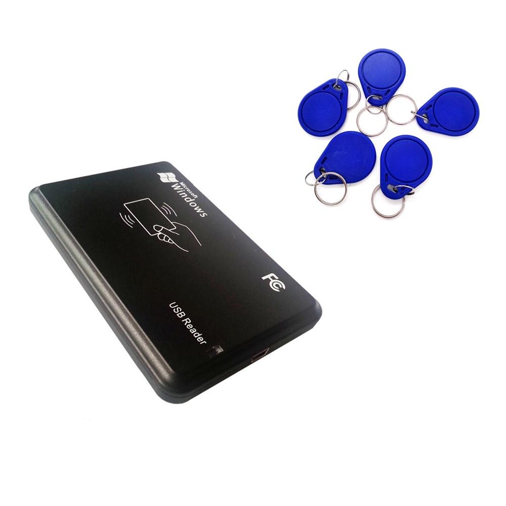 125 кГц RFID ID EM4100 EM4305 T5577 карты USB чтения/записи/Копиры/программист Бесплатная перезаписываемый брелока копия ISO с 5 шт. Keytags