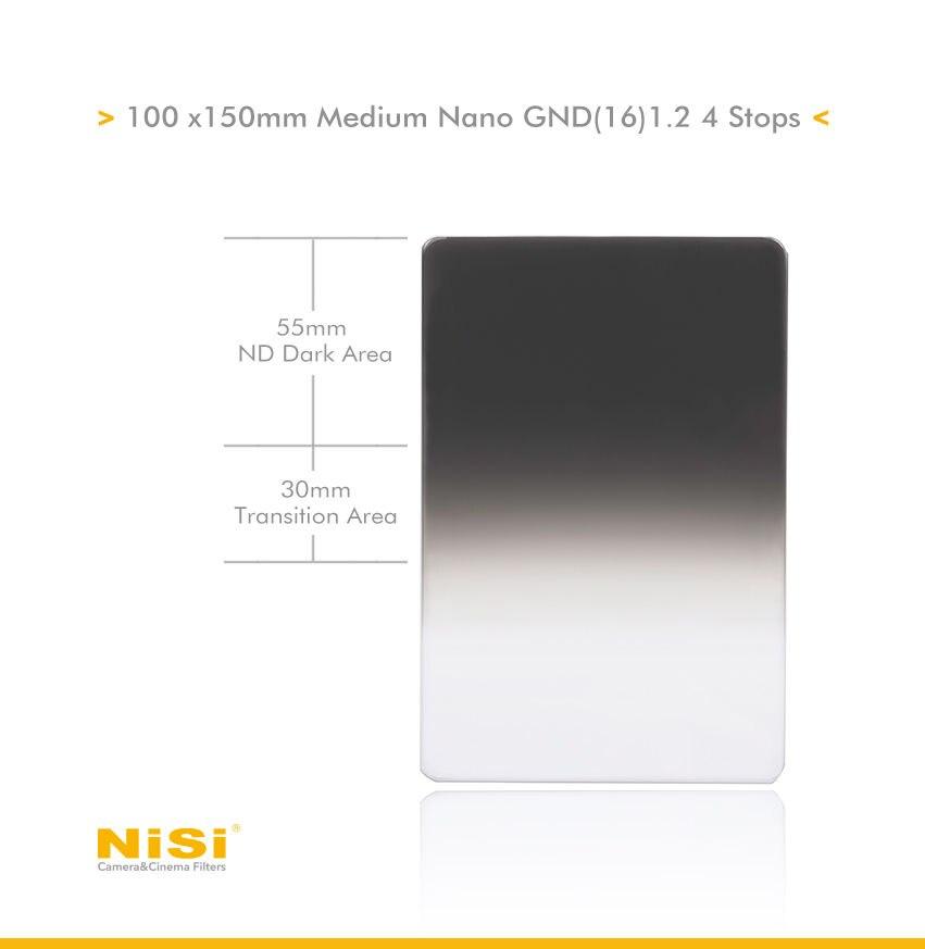 NiSi 100 150mm Nano MC IR Medium GND16 1 2 4 Stop Graduated Neutral Density Grad