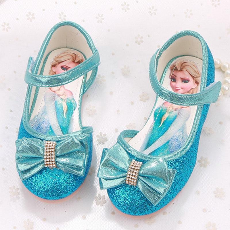 Fashion Ice cartoon girls princess leather shoes girls flats butterfly princess shoes kids girls dress shoes soft bottom
