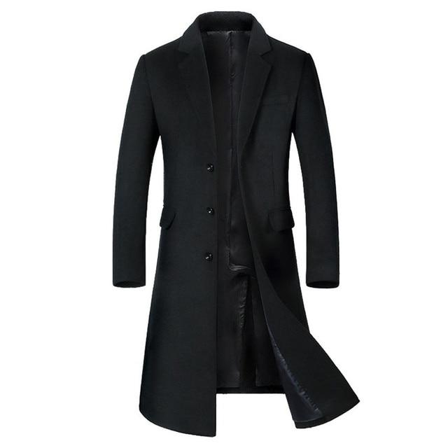 Men's wool Jacket Warm Winter  Slim Trench Coat  Long Outwear Button windbreakers Coats men Plus Size #1106 A#733