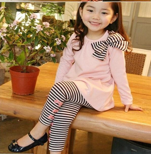 3-8 Y Girl Kids Long Sleeve Shirts+Bow Striped Leggings Suit Set