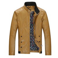 Fashion Men's Long Sleeve PU Leather Jacket Black Red Yellow Upscale Casual Men Twill Jackets Size S 4XL