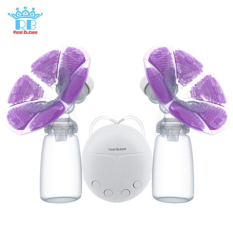 Real Bubee Double Electric Breast Pump With Milk Bottle Convenient USB PP BPA Free Powerful Breast Pumps Bottle Cold Heat Pad brand cold heat pad double breast pumps with milk bottle electric powerful nipple suction usb breast pump mothers breast feeding