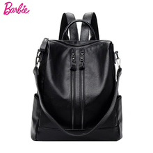 цены New Barbie Fashion Women Backpack Soft Durable PU leather Backpacks for Teenage Girls Female School Shoulder Bag Bagpack mochila
