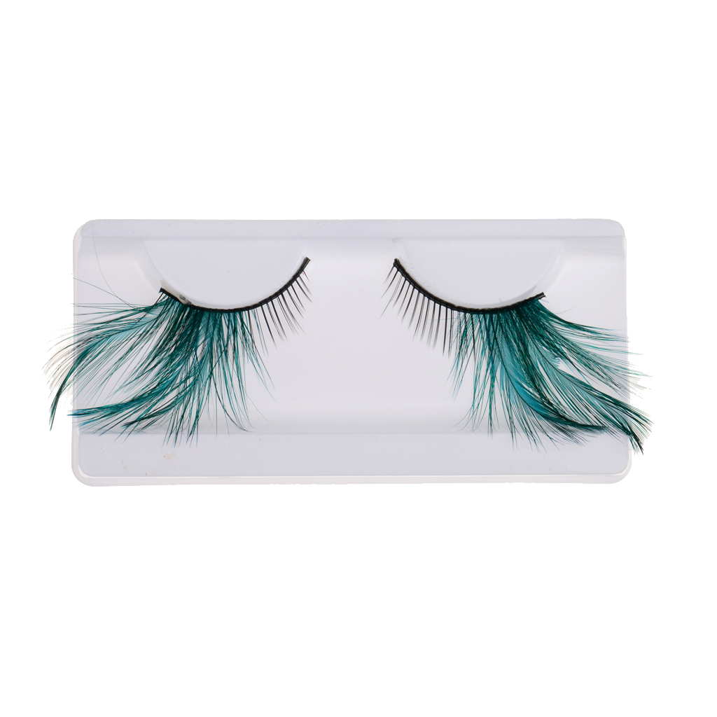 Pair Of False Feather Exaggeration Cosmetic Eyelashes Extensions Makeup Fancy Dress Halloween Cosmetic Tools 5-30MM Green