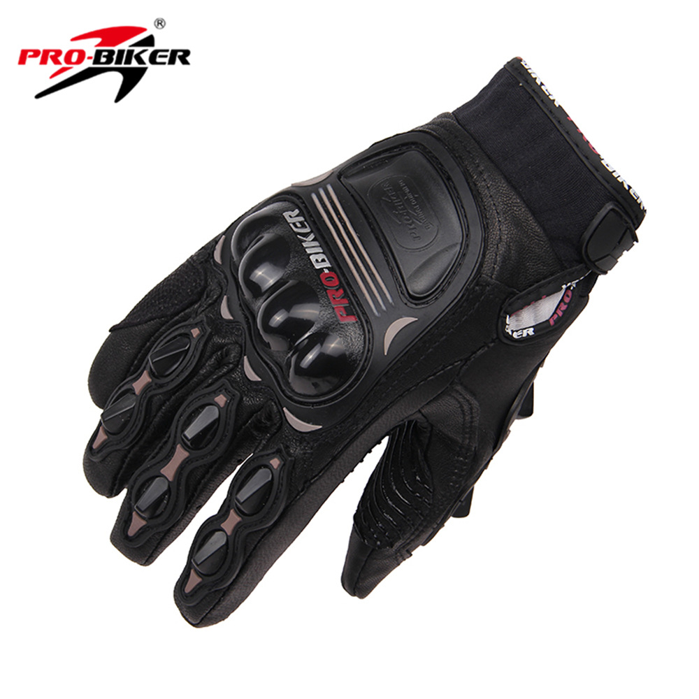 PRO BIKER Motorcycle Gloves Real Leather Moto Windproof Motoross Racing Full Finger Gloves Motorbike Guantes Luvas