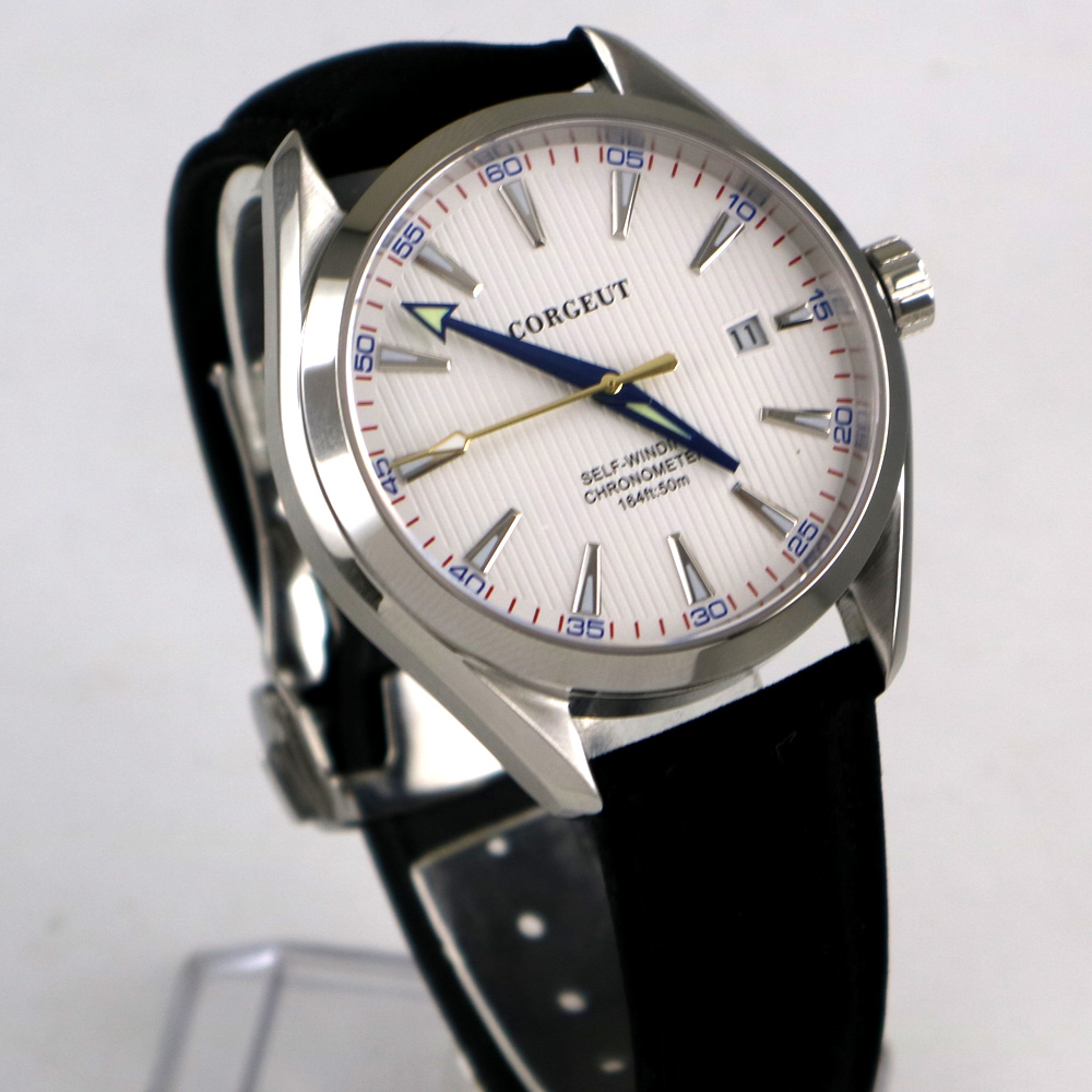 41mm Corgeut White Dial Stainless steel Case Sapphire Glass Blue Hand Automatic Movement men s Watch