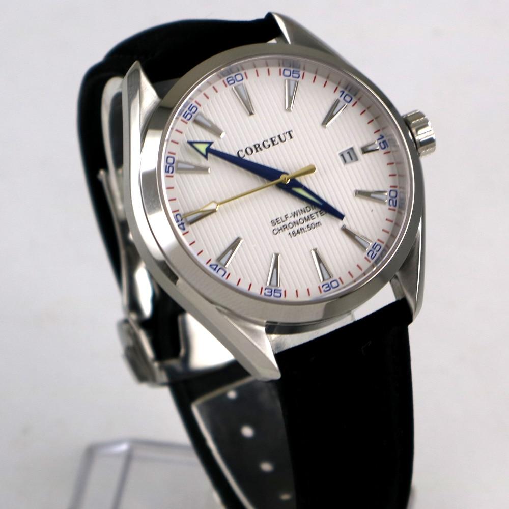 лучшая цена 39mm Corgeut White Dial Stainless steel Case Sapphire Glass Blue Hand Miyota Automatic Movement men's Watch